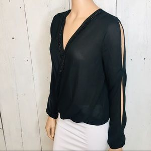 Francesca Collection Womens Black Beaded Blouse S